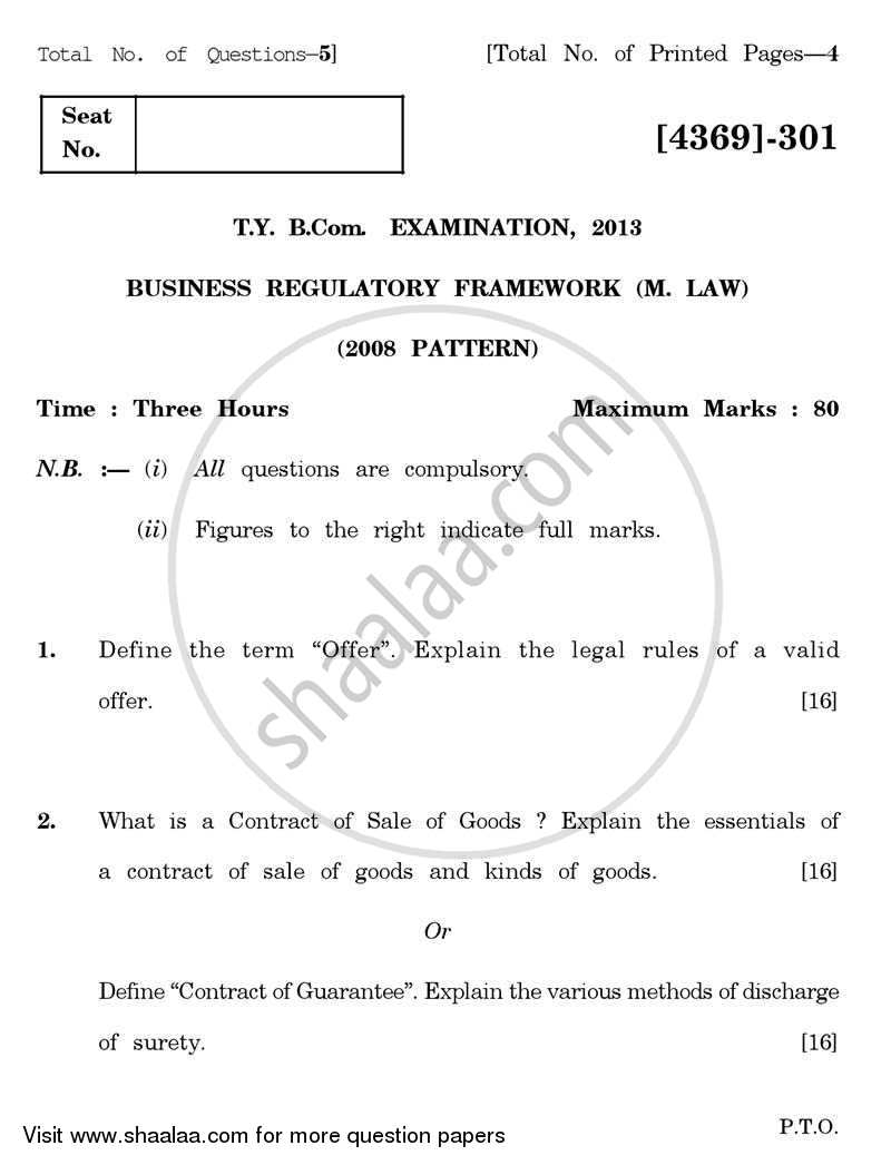 Business Regulatory Framework (Mercantile Law) 2012-2013 - B.Com. - 3rd Year (TYBcom) - University of Pune question paper with PDF download
