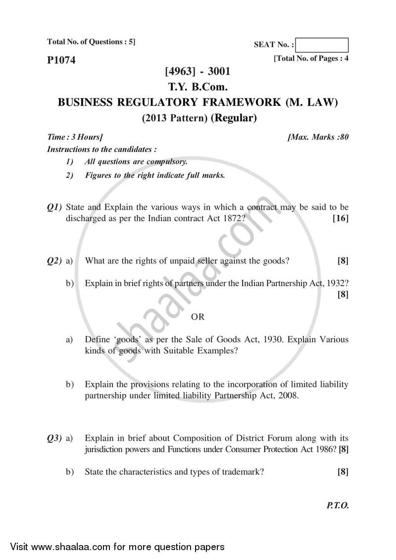 Business Regulatory Framework (Mercantile Law) 2015-2016 - B.Com. - 3rd Year (TYBcom) - University of Pune question paper with PDF download