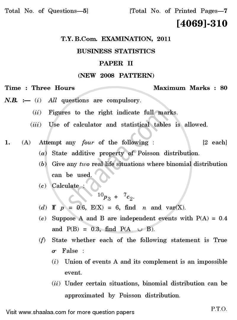 Business Statistics 2 2011-2012 - B.Com. - 3rd Year (TYBcom) - University of Pune question paper with PDF download