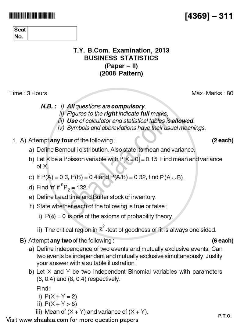 Question Paper - Business Statistics 2 2012 - 2013 - B.Com. - 3rd Year (TYBcom) - University of Pune