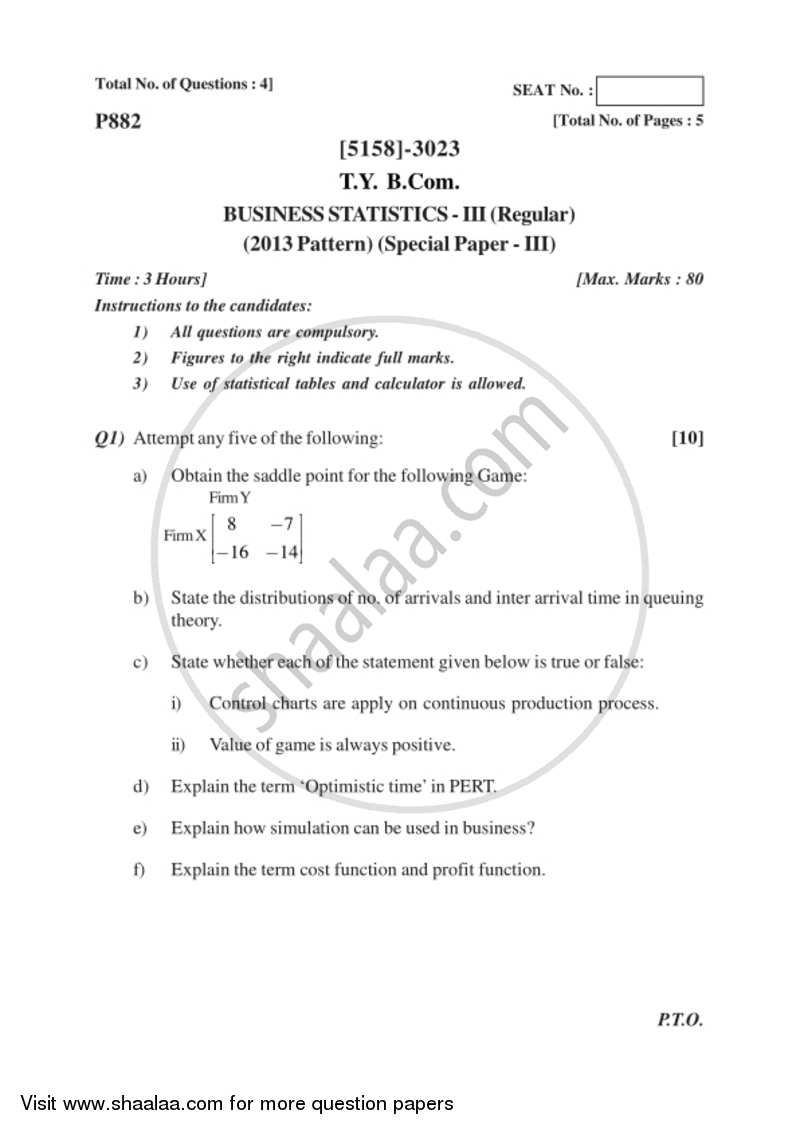 Business Statistics 3 2016-2017 - B.Com. - 3rd Year (TYBcom) - University of Pune question paper with PDF download