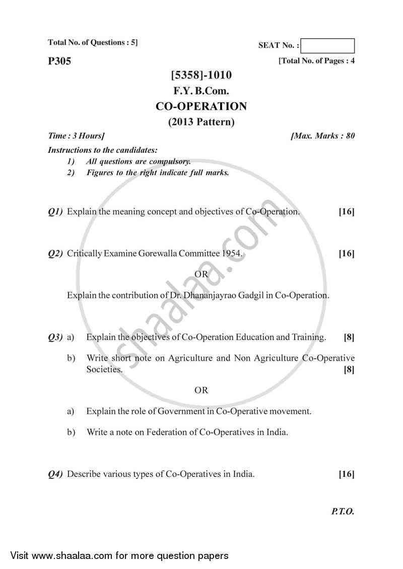 Co-operation 2017-2018 - B.Com. - 1st Year (FYBcom) - University of Pune question paper with PDF download