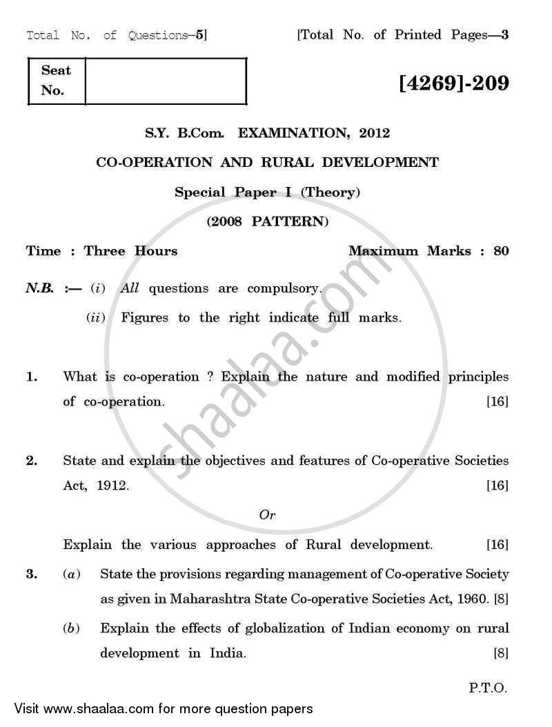 Co-operation and Rural Development 1 2012-2013 - B.Com. - 2nd Year (SYBcom) - University of Pune question paper with PDF download