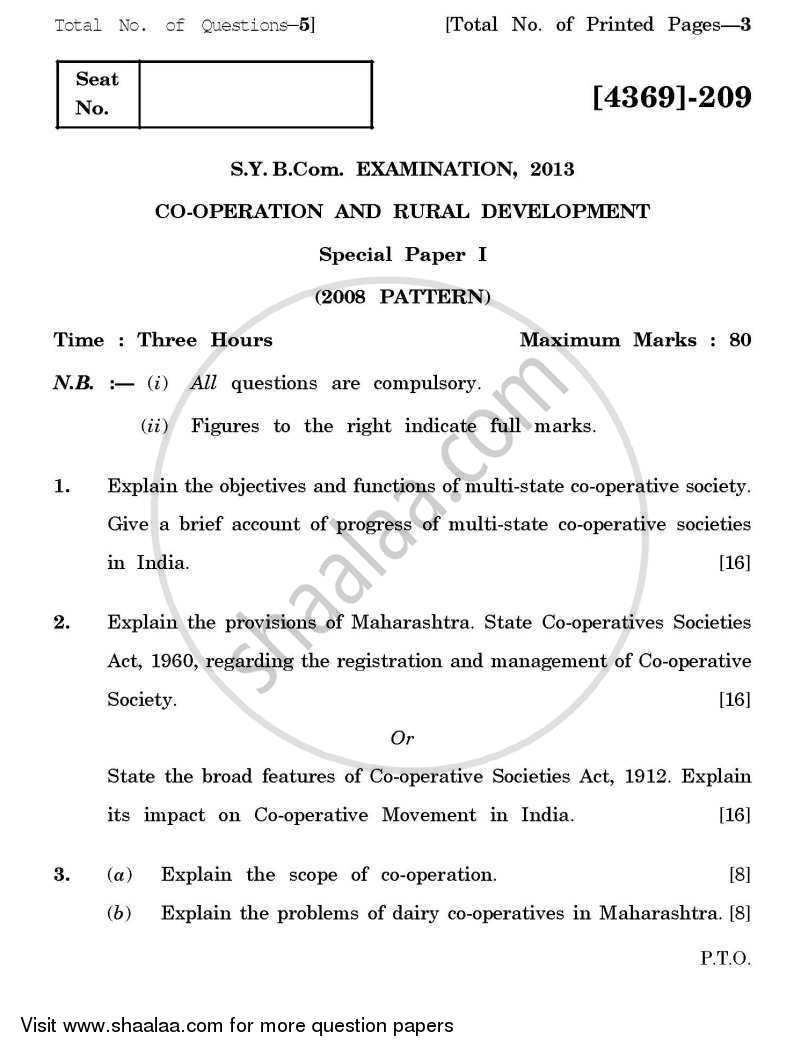 Question Paper - Co-operation and Rural Development 1 2012 - 2013 - B.Com. - 2nd Year (SYBcom) - University of Pune
