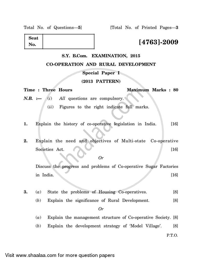 Co-operation and Rural Development 1 2014-2015 - B.Com. - 2nd Year (SYBcom) - University of Pune question paper with PDF download