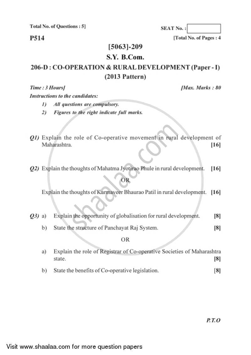 Co-operation and Rural Development 1 2016-2017 - B.Com. - 2nd Year (SYBcom) - University of Pune question paper with PDF download