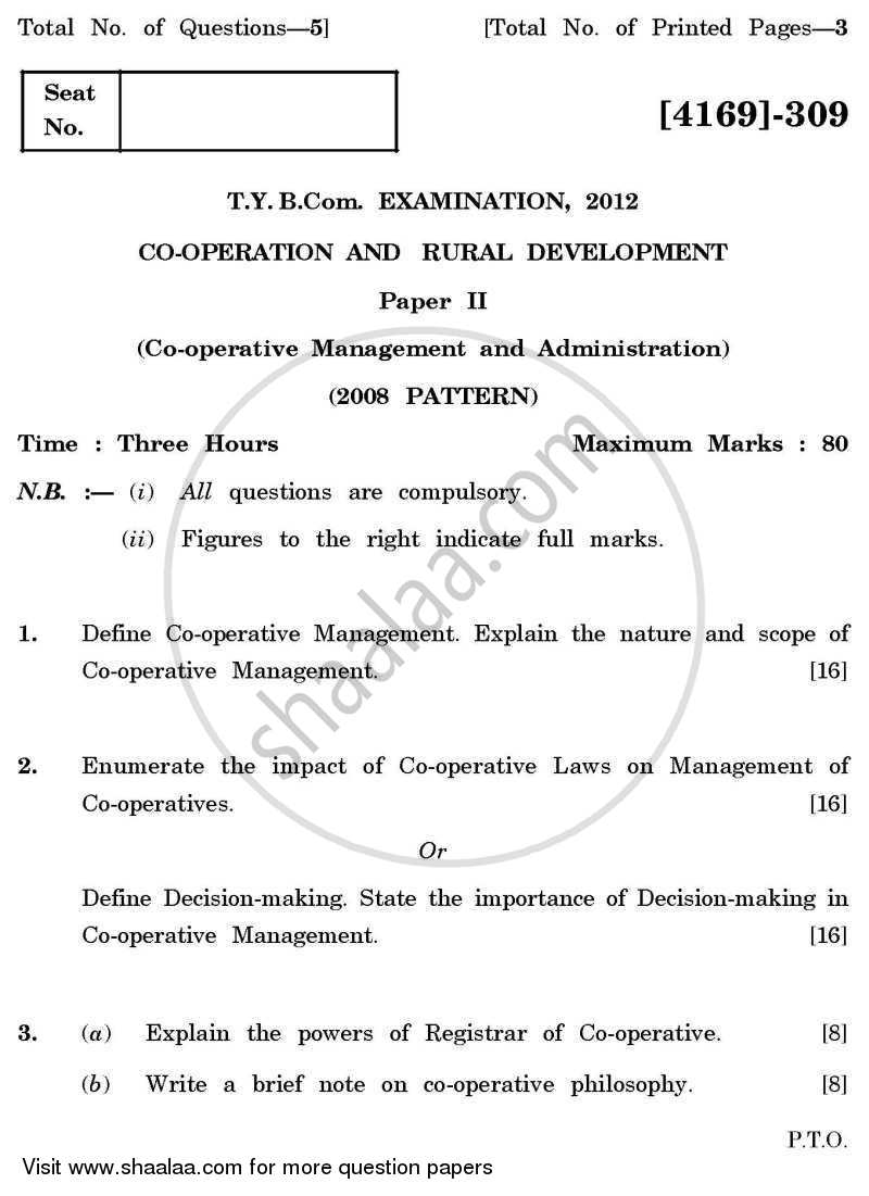 Co-operation and Rural Development 2 2011-2012 - B.Com. - 3rd Year (TYBcom) - University of Pune question paper with PDF download