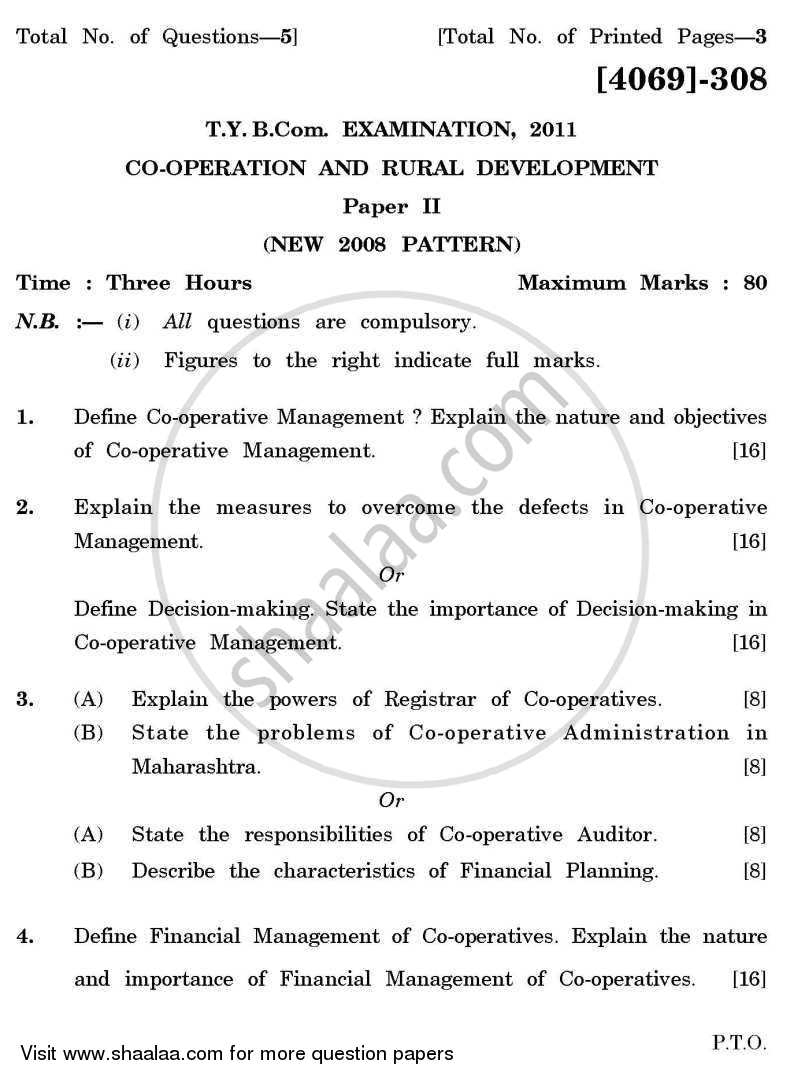 Question Paper - Co-operation and Rural Development 2 2011 - 2012 - B.Com. - 3rd Year (TYBcom) - University of Pune