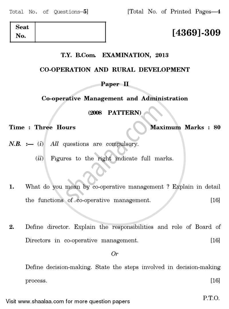 Question Paper - Co-operation and Rural Development 2 2012 - 2013 - B.Com. - 3rd Year (TYBcom) - University of Pune