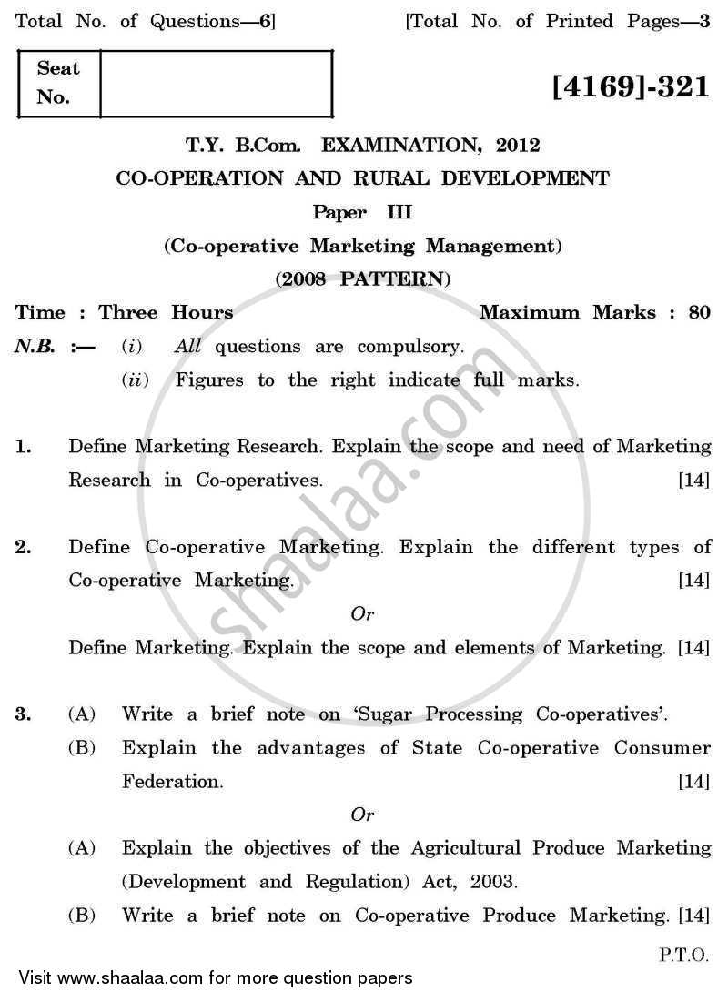 Question Paper - Co-operation and Rural Development 3 2011 - 2012 - B.Com. - 3rd Year (TYBcom) - University of Pune
