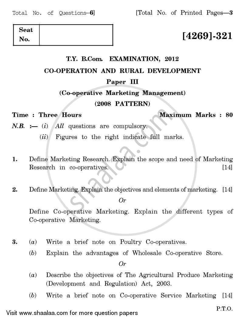 Co-operation and Rural Development 3 2012-2013 - B.Com. - 3rd Year (TYBcom) - University of Pune question paper with PDF download