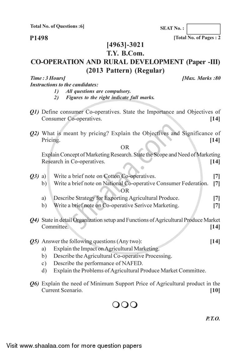 Co-operation and Rural Development 3 2015-2016 - B.Com. - 3rd Year (TYBcom) - University of Pune question paper with PDF download