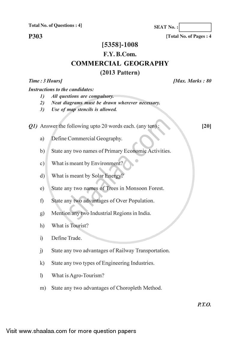 Question Paper - Commercial Geography 2017-2018 - B.Com. - 1st Year (FYBcom) - University of Pune with PDF download