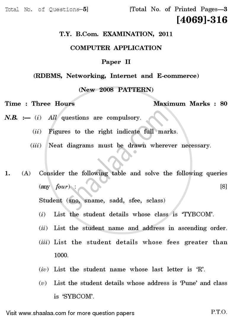 Question Paper - Computer Application 2 - Relational Database Management System, Networking, Internet and E-commerce 2011 - 2012 - B.Com. - 3rd Year (TYBcom) - University of Pune