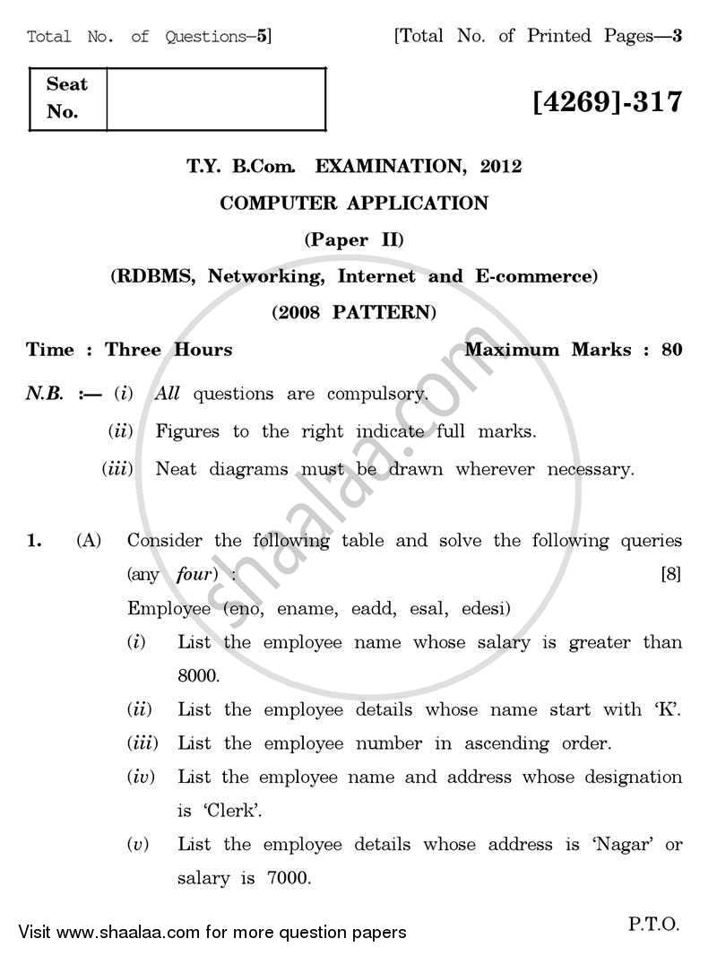 Question Paper - Computer Application 2 - Relational Database Management System, Networking, Internet and E-commerce 2012 - 2013 - B.Com. - 3rd Year (TYBcom) - University of Pune