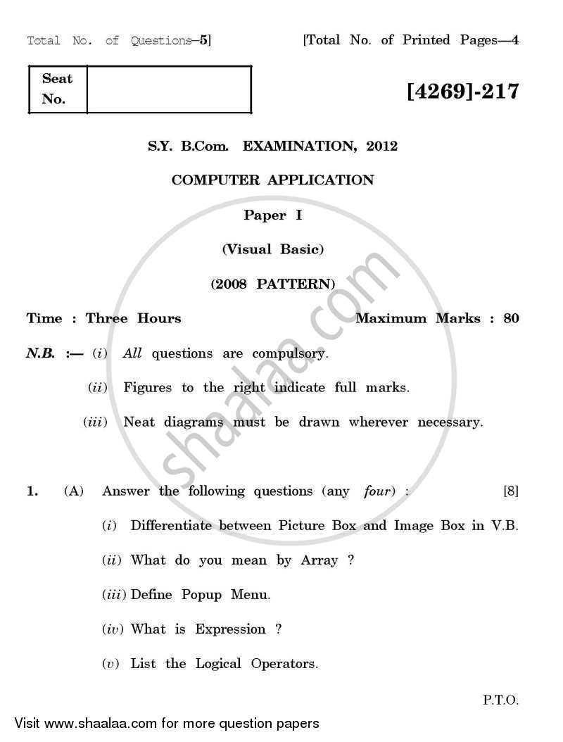 Computer Application - Visual Basic 2012-2013 - B.Com. - 2nd Year (SYBcom) - University of Pune question paper with PDF download