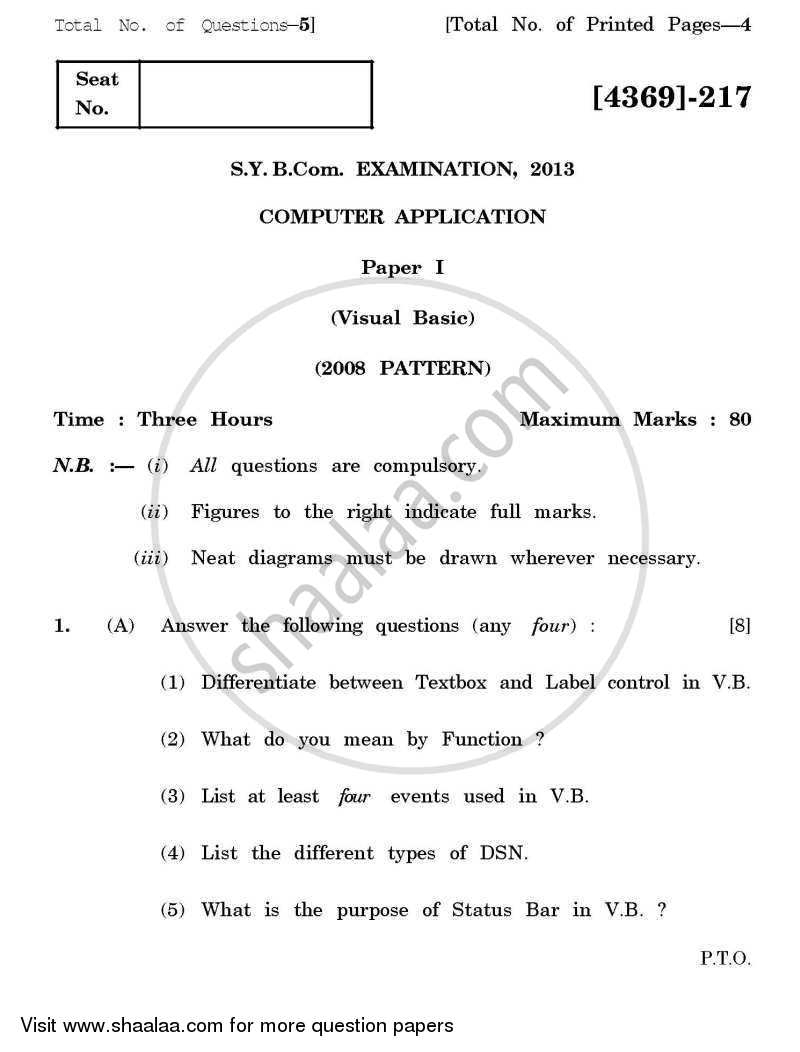 Question Paper - Computer Application - Visual Basic 2012-2013 - B.Com. - 2nd Year (SYBcom) - University of Pune with PDF download