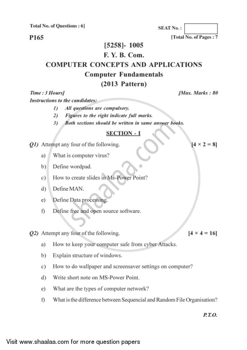 Question Paper Computer Concepts And Applications 2017 2018