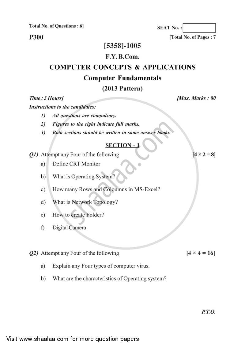 Question Paper - Computer Concepts and Programming 2017-2018 - B.Com. - 1st Year (FYBcom) - University of Pune with PDF download