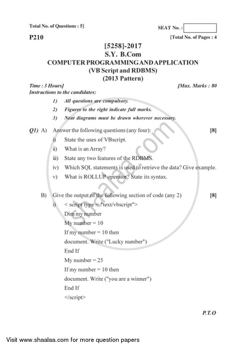Computer Programming and Applications 1 2017-2018 - B.Com. - 2nd Year (SYBcom) - University of Pune question paper with PDF download