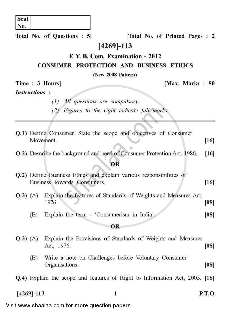 Question Paper - Consumer Protection and Business Ethics 2012 - 2013-B.Com.-1st Year (FYBcom) University of Pune