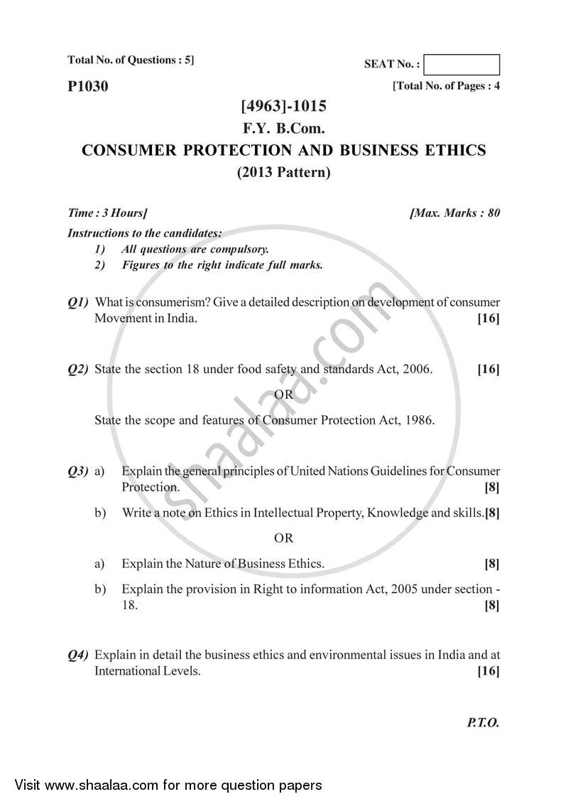 Consumer Protection and Business Ethics 2015-2016 - B.Com. - 1st Year (FYBcom) - University of Pune question paper with PDF download