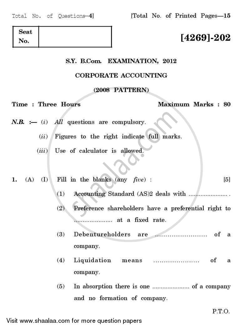 Question Paper - Corporate Accounting 2012 - 2013 - B.Com. - 2nd Year (SYBcom) - University of Pune