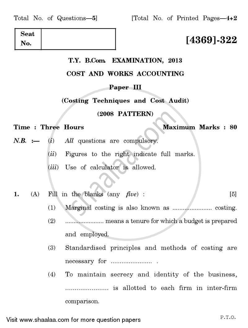 Question Paper - Cost and Works Accounting 3 2012 - 2013 - B.Com. - 3rd Year (TYBcom) - University of Pune
