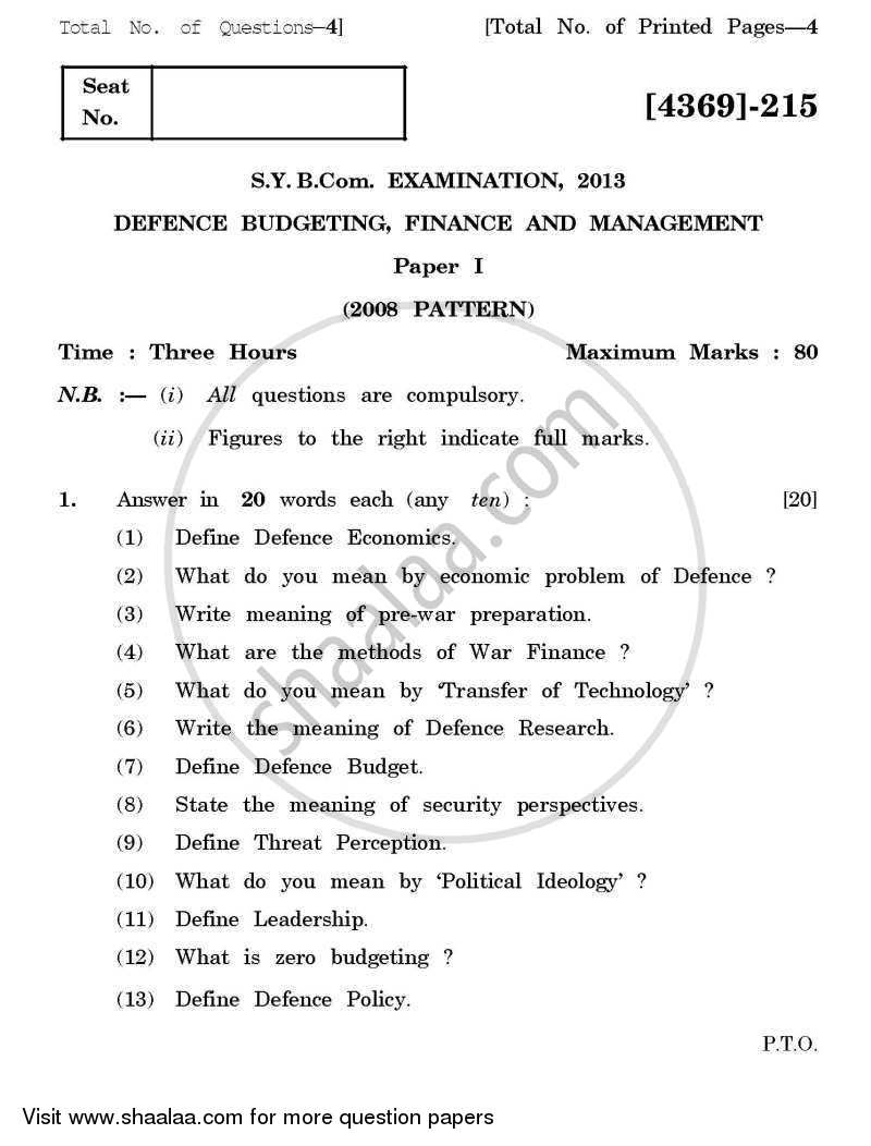 Question Paper - Defence Budgeting, Finance and Management 1 2012 - 2013 - B.Com. - 2nd Year (SYBcom) - University of Pune