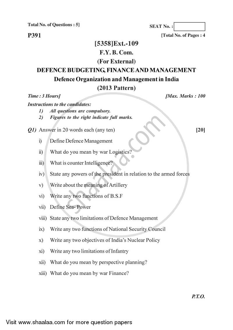 Defence Budgeting Finance and Management Paper 1- Defence Organization and Management in India 2017-2018 - B.Com. - 1st Year (FYBcom) - University of Pune question paper with PDF download