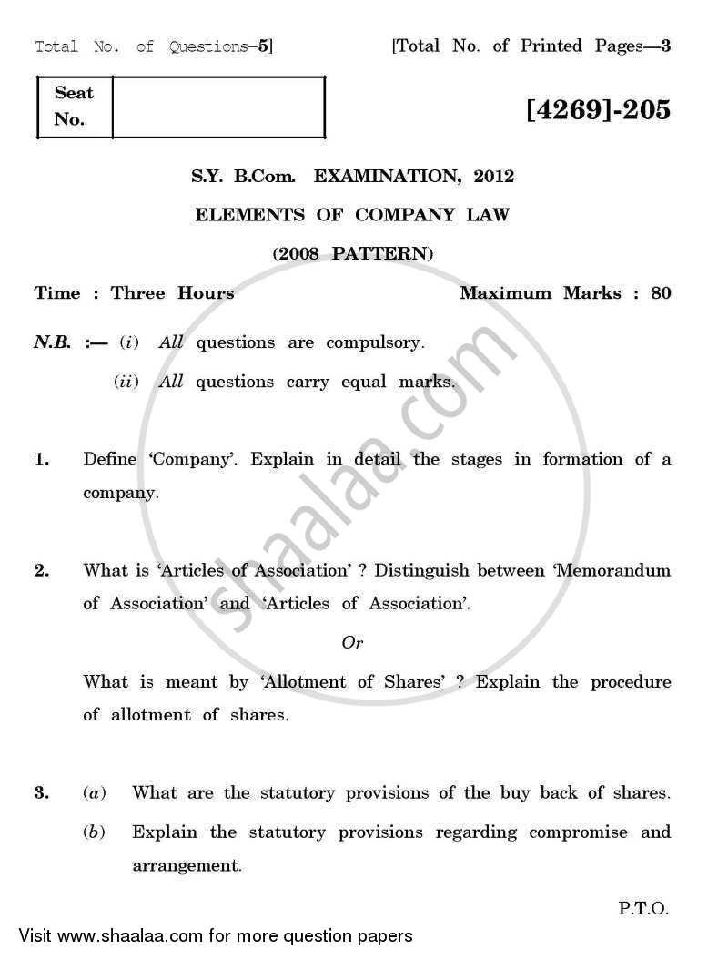Question Paper - Elements of Company Law 2012 - 2013 - B.Com. - 2nd Year (SYBcom) - University of Pune