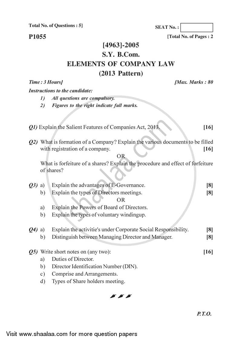 Elements of Company Law 2015-2016 - B.Com. - 2nd Year (SYBcom) - University of Pune question paper with PDF download