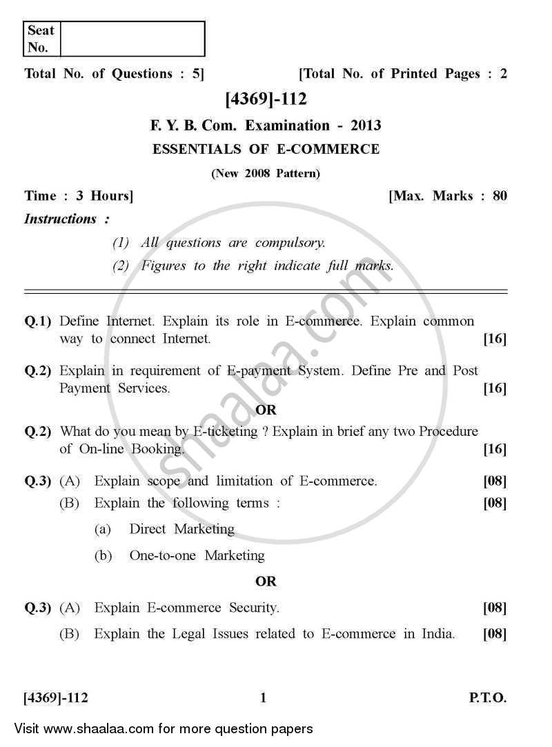 Question Paper - Essentials of E-commerce 2012 - 2013 - B.Com. - 1st Year (FYBcom) - University of Pune