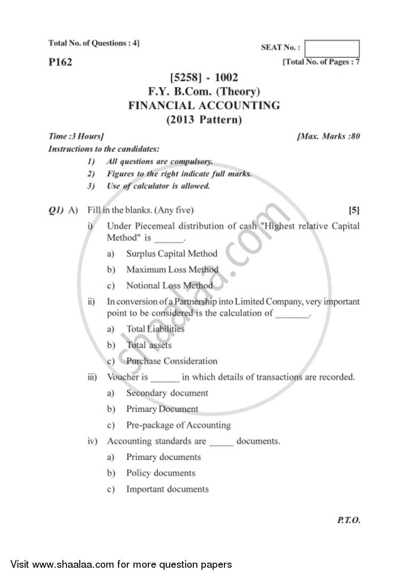 Financial Accounting 2017-2018 Bachelor of Commerce (B Com