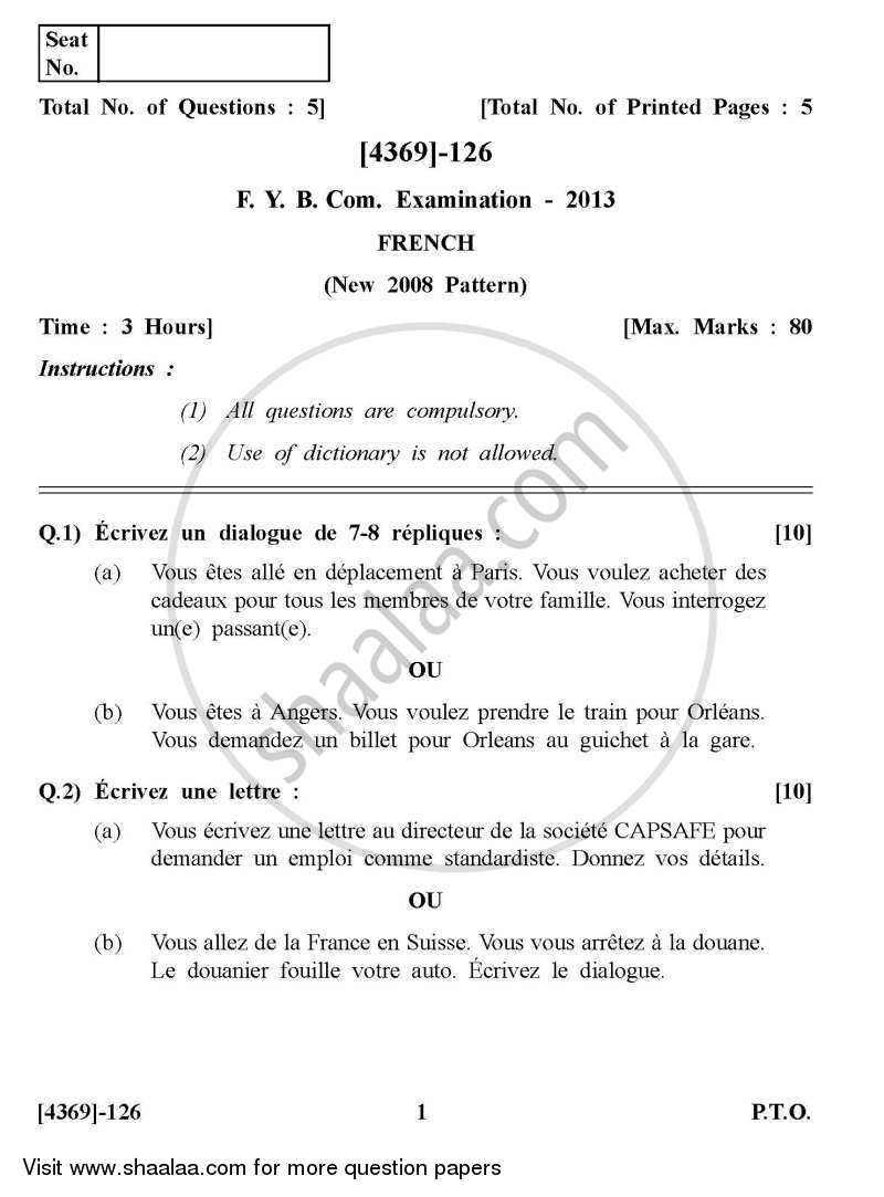 Question Paper - French 2012 - 2013 - B.Com. - 1st Year (FYBcom) - University of Pune