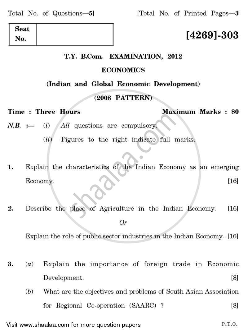 Question Paper - Indian and Global Economic Development 2012 - 2013 - B.Com. - 3rd Year (TYBcom) - University of Pune