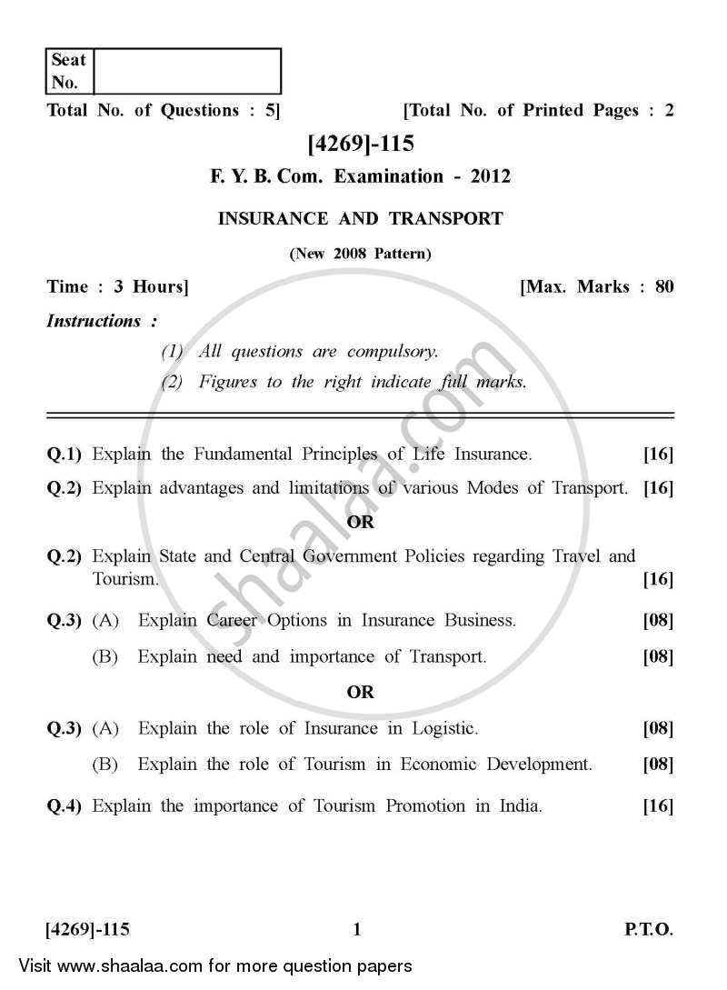 Question Paper - Insurance and Transport 2012 - 2013 - B.Com. - 1st Year (FYBcom) - University of Pune