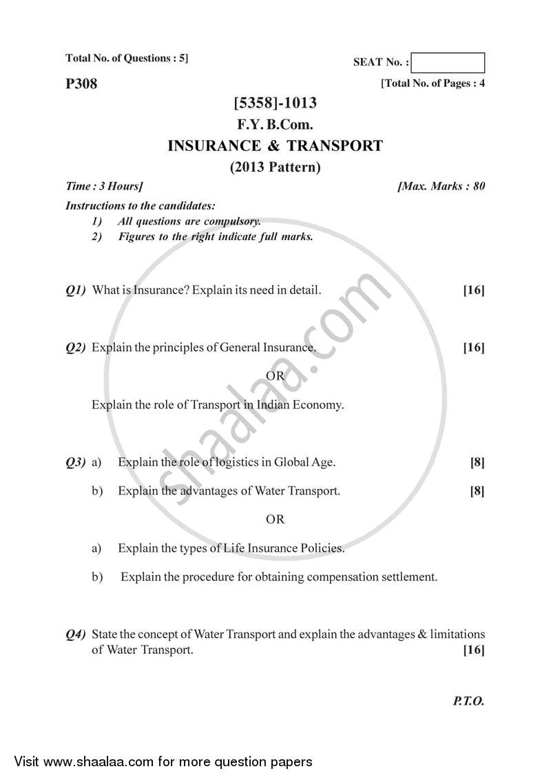 Insurance and Transport 2017-2018 - B.Com. - 1st Year (FYBcom) - University of Pune question paper with PDF download