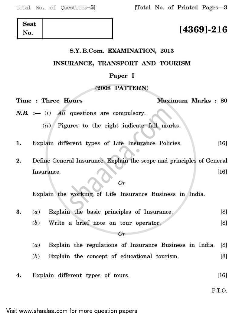 Question Paper - Insurance, Transport and Tourism 1 2012 - 2013 - B.Com. - 2nd Year (SYBcom) - University of Pune
