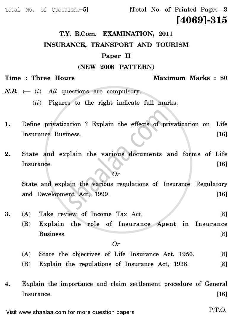 Question Paper - Insurance, Transport and Tourism 2 2011 - 2012 - B.Com. - 3rd Year (TYBcom) - University of Pune