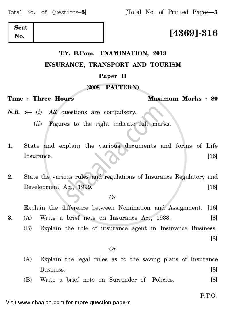 Question Paper - Insurance, Transport and Tourism 2 2012 - 2013 - B.Com. - 3rd Year (TYBcom) - University of Pune