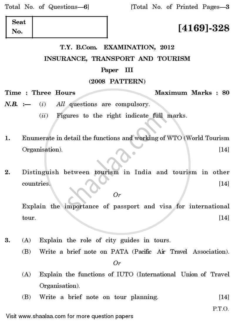 Question Paper - Insurance, Transport and Tourism 3 2011 - 2012 - B.Com. - 3rd Year (TYBcom) - University of Pune