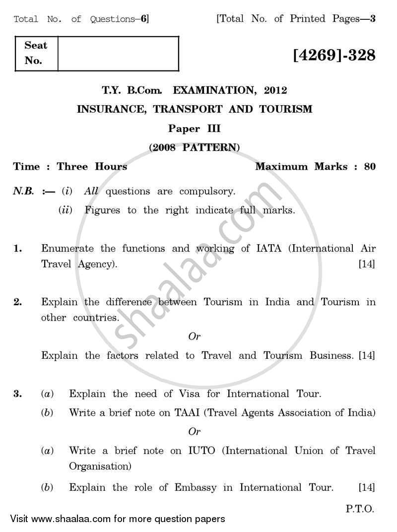Question Paper - Insurance, Transport and Tourism 3 2012 - 2013 - B.Com. - 3rd Year (TYBcom) - University of Pune