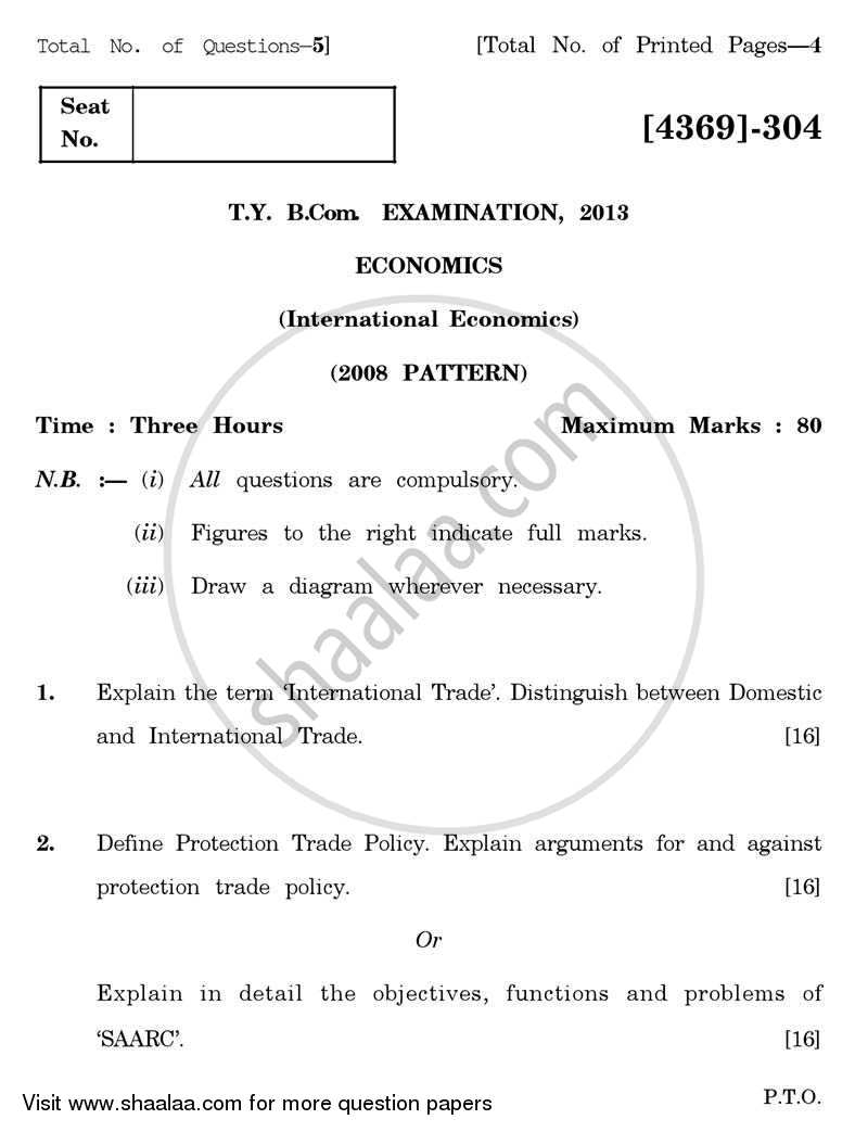 Question Paper - International Economics 2012 - 2013 - B.Com. - 3rd Year (TYBcom) - University of Pune