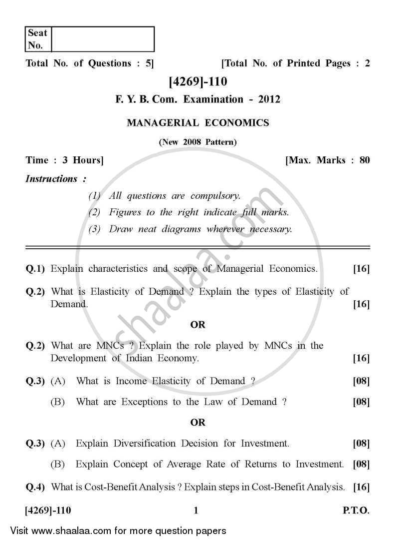 Managerial Economics 2012-2013 - B.Com. - 1st Year (FYBcom) - University of Pune question paper with PDF download
