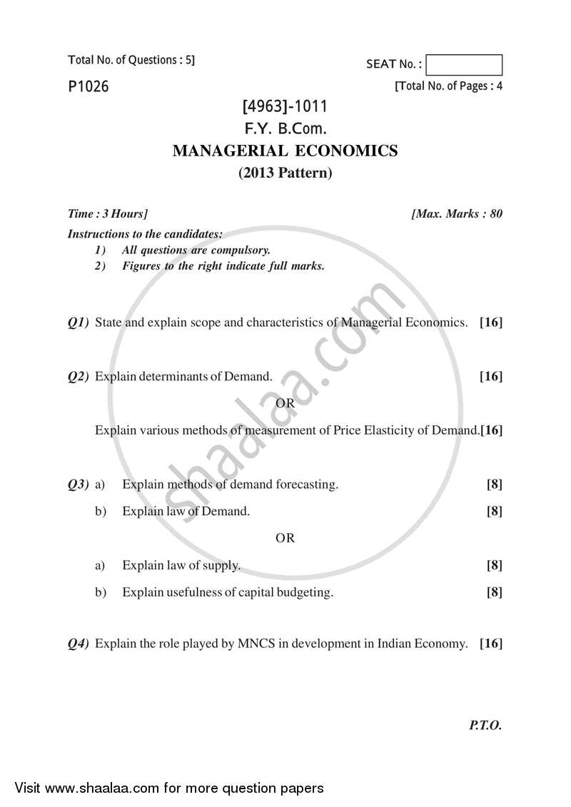 Managerial Economics 2015-2016 - B.Com. - 1st Year (FYBcom) - University of Pune question paper with PDF download