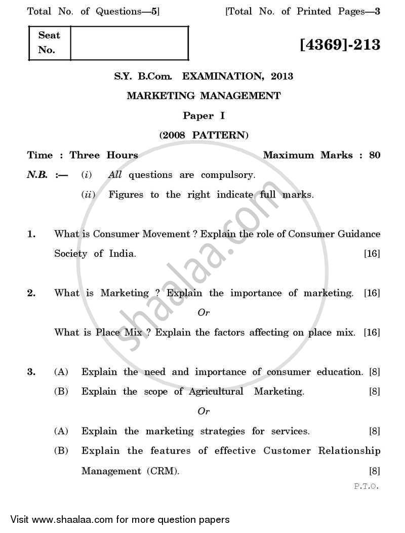 Question Paper - Marketing Management 1 2012 - 2013 - B.Com. - 2nd Year (SYBcom) - University of Pune