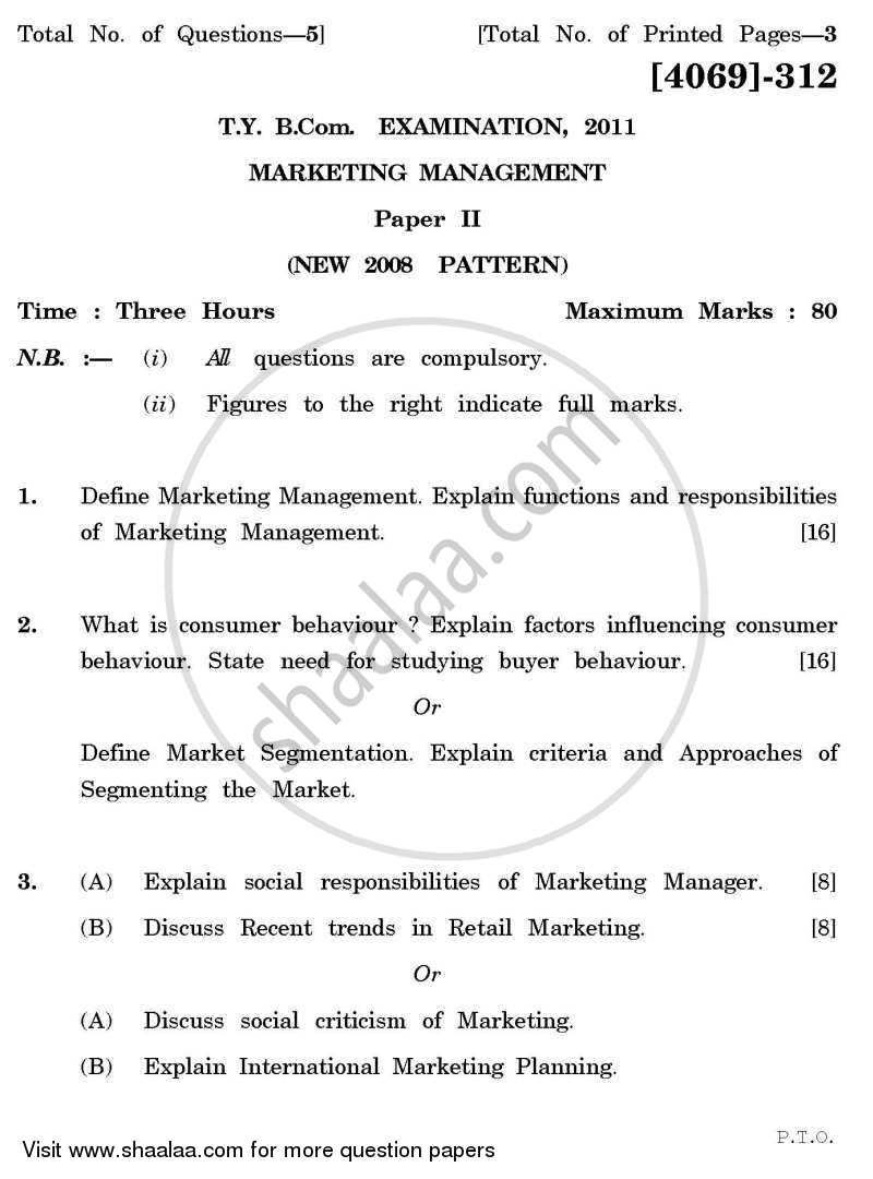 Question Paper - Marketing Management 2 2011 - 2012 - B.Com. - 3rd Year (TYBcom) - University of Pune