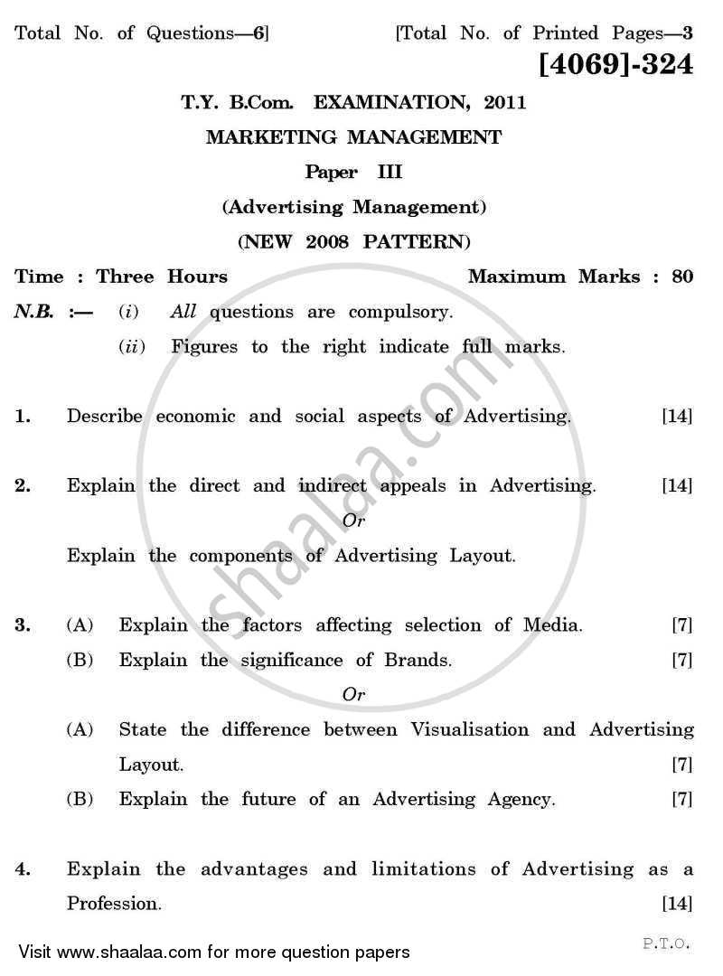 Question Paper - Marketing Management 3 2011 - 2012 - B.Com. - 3rd Year (TYBcom) - University of Pune
