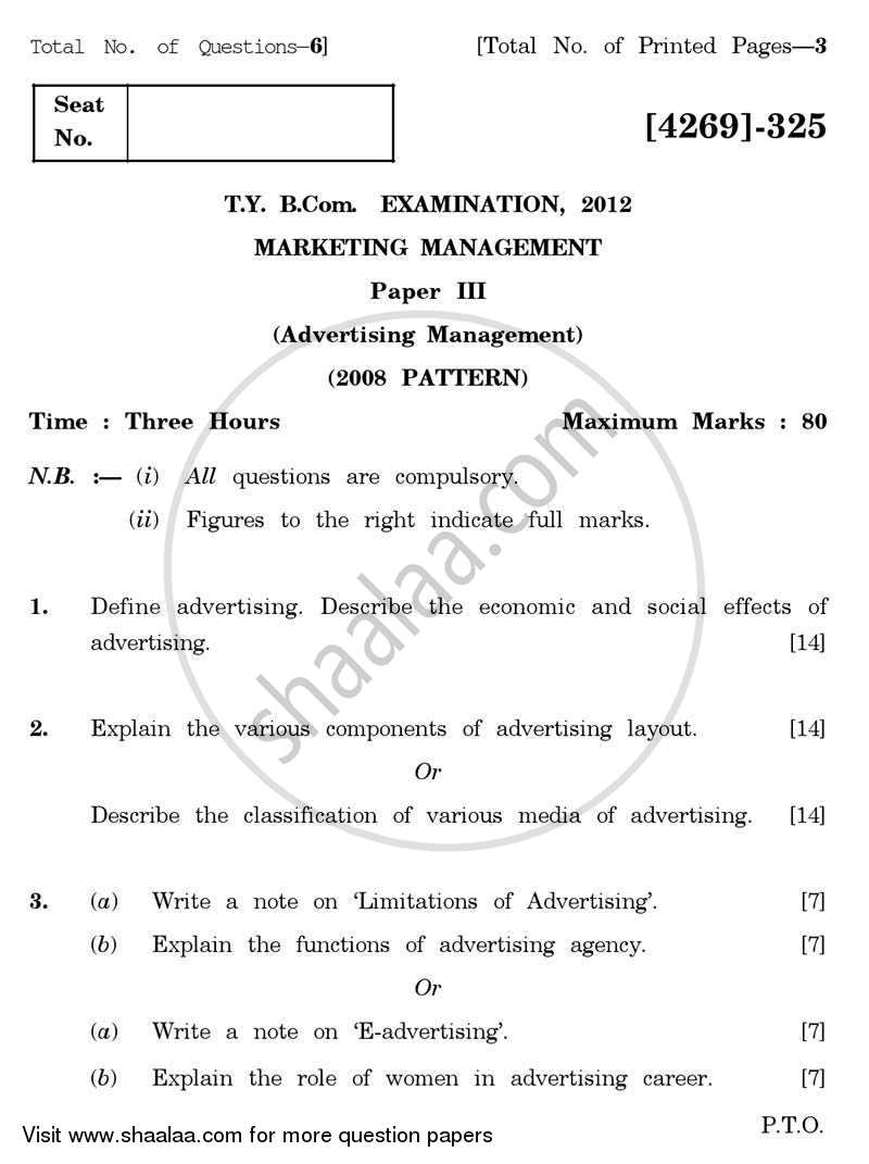 Marketing Management 3 2012-2013 - B.Com. - 3rd Year (TYBcom) - University of Pune question paper with PDF download